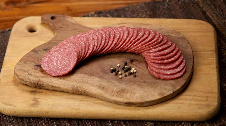 Sliced Beef Salami 8 Oz Package New Braunfels Smokehouse